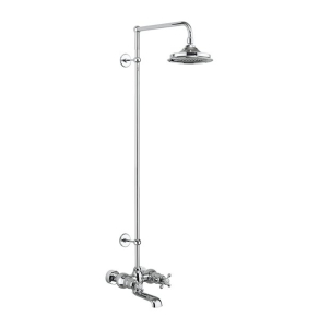 Burlington Tay WM Complete Bath Shower Mixer, Extended Rigid Riser with Fixed 9 inch Head - Chrome BU10714