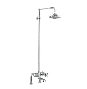 Burlington Tay DM Complete Bath Shower Mixer, Rigid Riser with Fixed 12 inch Head - Chrome BU10718