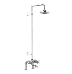 Burlington Tay Deck Mounted Bath Shower Mixer, Extended Rigid Riser with Fixed 12 inch Head BU10721
