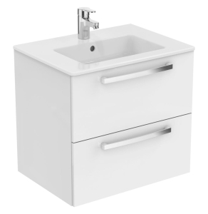 Ideal Standard Tempo 2-Drawer Vanity Unit 600mm Wide Gloss White - E3240WG IS10379