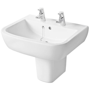 Ideal Standard Tempo Basin and Semi Pedestal 550mm Wide 2 Tap Holes IS10158