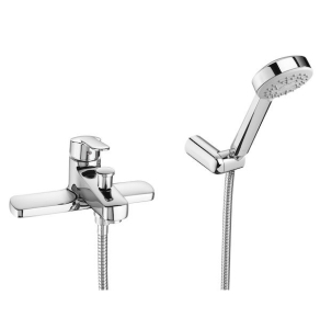 Roca Victoria Bath Shower Mixer Tap with Shower Kit Deck Mounted In Chrome - 5A1825C00 RO10545
