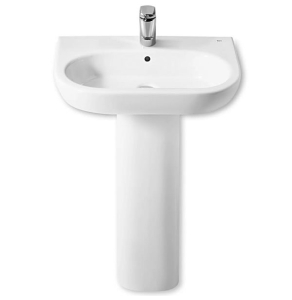 Roca Meridian-N Basin and Full Pedestal, 550mm Wide, 1 Tap Hole RO10125