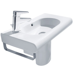Roca Meridian-N Compact Basin and Semi Pedestal, 550mm Wide, 1 LH Tap Hole RO10131
