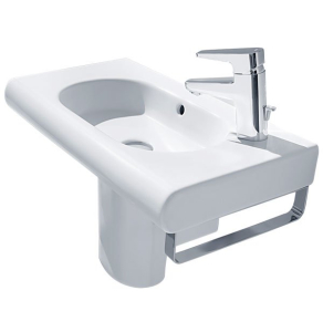 Roca Meridian-N Compact Basin and Semi Pedestal, 600mm Wide, 1 RH Tap Hole RO10137