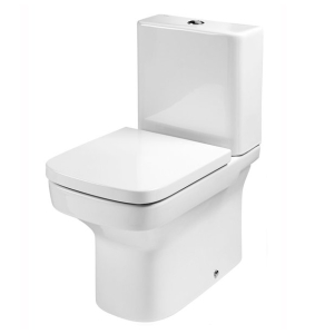 Roca Dama-N Flush-to-Wall Toilet with Dual Outlet Push Button Cistern, Soft Close Seat RO10101