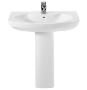 Roca Senso Basin and Full Pedestal, 650mm Wide, 1 Tap Hole RO10242