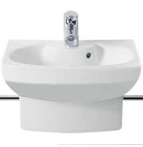 Roca Senso Compact Basin and Semi Pedestal, 480mm Wide, 1 Tap Hole - 327514000 RO10224