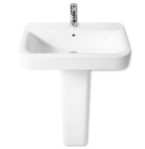 Roca Senso Square Basin and Full Pedestal, 600mm Wide, 1 Tap Hole RO10233