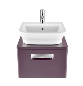 Roca The Gap 1-Drawer Bathroom Vanity Unit with Basin 500mm W - Matt Grape RO10374