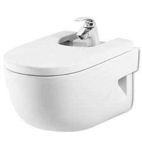 Roca Meridian-N Wall Hung Bidet with Soft Close Seat 560mm Projection - 1 Tap hole RO10151