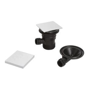 Bristan Square Bath Clicker Waste with Overflow Chrome - Slotted W BATH04 C