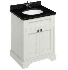 Burlington 65 2-Door Vanity Unit and Black Granite Basin 650mm Wide Sand - 0 Tap Hole BU10295