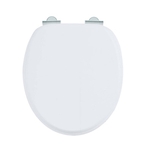 Burlington Standard Moulded Wood Toilet Seat, Soft Close Hinges, Matt White BU10824