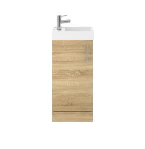 Nuie Vault Natural Oak Contemporary 400 Single Door Floor Standing Unit and Basin - MIN005 MIN005