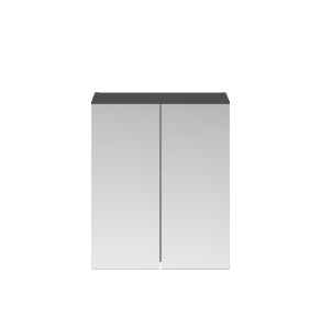 Nuie Athena Gloss Grey Contemporary 600mm Mirror Unit (50/50) - MOC323 MOC323