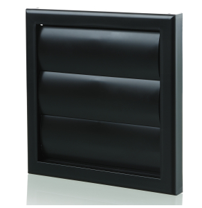 Blauberg Plastic Vented Back Draught Air Gravity Shutter Ventilation Grille - 100mm Black BLA10072