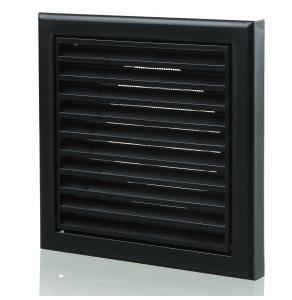 Blauberg Plastic Vented Fixed Blade Air Ventilation Louvred Grille - 100mm - Black BLA10084