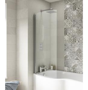 Nuie Curved Bath Screens Polished Chrome Contemporary P-Bath Screen - NCS0 NCS0