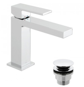 Vado Notion SlimlineMono Basin Mixer Smooth Bodied Single Lever Deck Mounted With Clic-Clac Waste - Not-200/Cc-C/P VADO1667