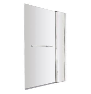 Nuie Bath Screens Polished Chrome Contemporary Square Screen With Fixed Panel & Rail - NSSQR2 NSSQR2