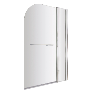 Nuie Bath Screens Polished Chrome Contemporary Straight Screen Fixed Panel & Rail - NSSR2 NSSR2