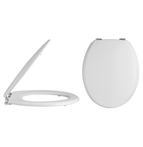 Nuie White Traditional Toilet Seat Chrome Hinges - NTS302 NTS302