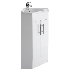 Nuie Mayford Gloss White Contemporary 2 Door Corner Cabinet & Basin - NVC180A NVC180A