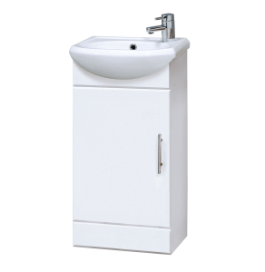 Nuie Cloakroom White Contemporary 420mm Cabinet & 1 Tap Hole Basin - NVS100 NVS100