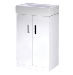 Nuie Cloakroom Packs Gloss White Contemporary Checkers 450 Floor Standing Basin Unit - VTFW450 VTFW450
