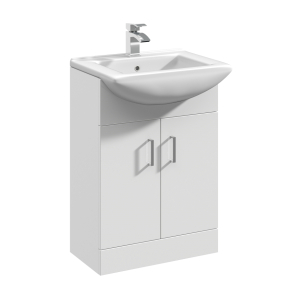 Nuie Mayford Gloss White Contemporary 550mm 1 Tap Hole Basin & Single Door Vanity Unit - VTM550 VTM550
