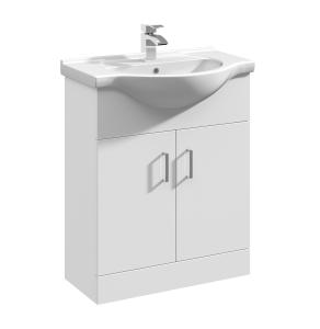Nuie Mayford Gloss White Contemporary 650mm 1 Tap Hole Basin & Single Door Vsanity Unit - VTM650 VTM650