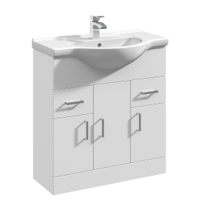 Nuie Mayford Gloss White Contemporary High 750mm 1 Tap Hole Basin & Vanity Unit - VTY750 VTY750