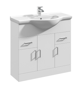 Nuie Mayford Gloss White Contemporary High 850mm 1 Tap Hole Basin & Vanity Unit - VTY850 VTY850