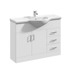 Nuie Mayford Gloss White Contemporary High 1050mm 1 Tap Hole Basin & Vanity Unit - VTY1050 VTY1050
