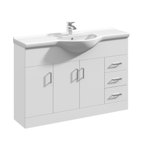 Nuie Mayford Gloss White Contemporary High 1200mm 1 Tap Hole Basin & Vanity Unit - VTY1200 VTY1200