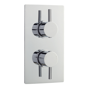 Nuie Quest Chrome Contemporary Twin Thermostatic Shower Valve With Diverter - QUEV52 QUEV52