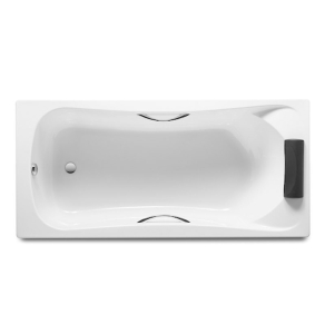 Roca Becool Single Ended Rectangular Bath with Grips and Headrest 1800mm x 800mm 0 Tap hole - 248015001 RO10493