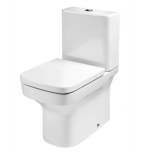 Roca Dama-N Flush-to-Wall Toilet with Dual Outlet Push Button Cistern, Standard Seat RO10099