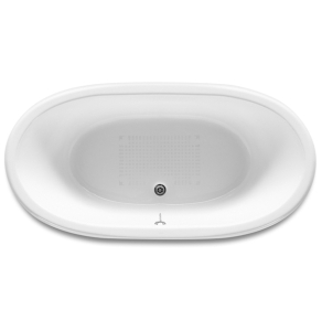 Roca Eliptico Oval Cast Iron Bath with White Exterior and Anti-slip Base 0 Tap Hole - 233650007 RO10482