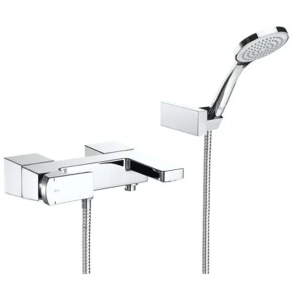 Roca L90 Bath Shower Mixer Tap with Shower Kit Wall Mounted - Chrome RO10603