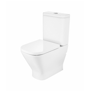 Roca The Gap Cleanrim Close Coupled Toilet with Dual Outlet Push Button Cistern, Soft Close Seat RO10049