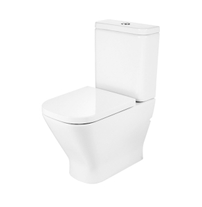 Roca The Gap Cleanrim Close Coupled Toilet with Dual Outlet Push Button Cistern, Soft Close Seat RO10023