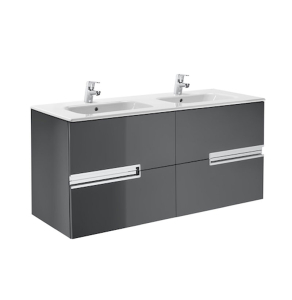 Roca Victoria-N Unik 4-Drawers Vanity Unit with Double Basin 1200mm Wide Gloss Grey 2 Tap Hole - 855830153 RO10426