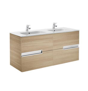 Roca Victoria-N Unik 4-Drawers Vanity Unit with Double Basin 1200mm Wide Textured Oak 2 Tap Hole - 855830155 RO10428