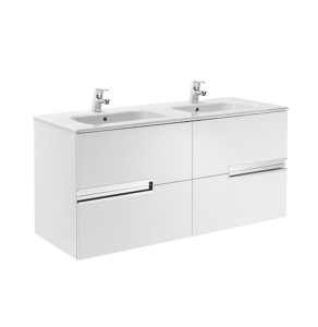 Roca Victoria-N Unik 4-Drawers Vanity Unit with Double Basin 1200mm Wide Gloss White 2 Tap Hole - 855830806 RO10427