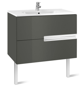 Roca Victoria-N Unik 2-Drawers Vanity Unit with Basin 800mm Wide Gloss Grey 1 Tap Hole - 855832153 RO10406