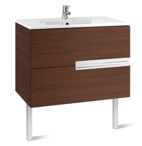 Roca Victoria-N Unik 2-Drawers Vanity Unit with Basin 800mm Wide Textured Wenge 1 Tap Hole - 855832154 RO10408