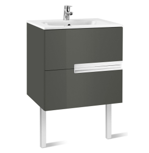 Roca Victoria-N Unik 2-Drawers Vanity Unit with Basin 700mm Wide Gloss Grey 1 Tap Hole - 855833153 RO10403