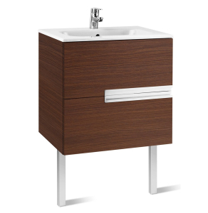 Roca Victoria-N Unik 2-Drawers Vanity Unit with Basin 600mm Wide Textured Wenge 1 Tap Hole - 855834154 RO10398